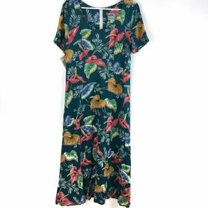 Reyn Spooner Hawaiian Maxi Dress Anthuriums Floral